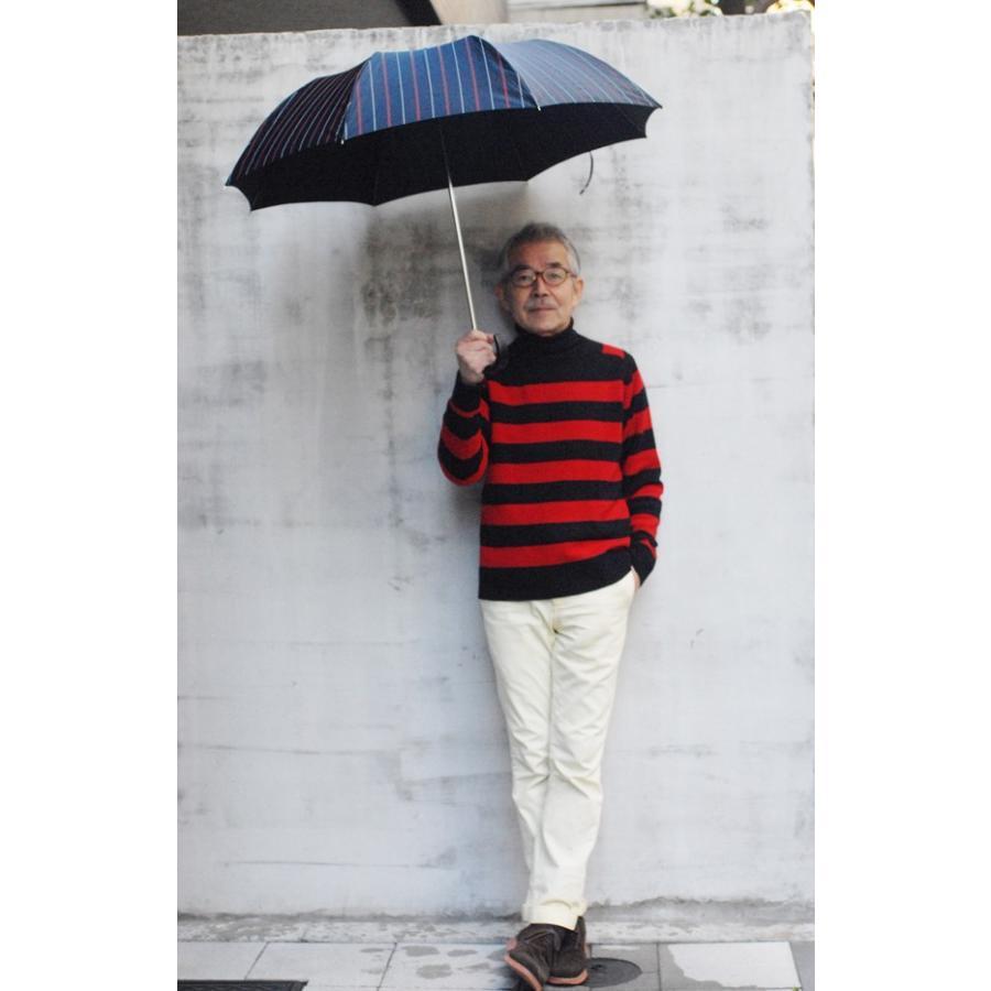【送料無料】55×8 Mini topless umbrella チョークストライプ  トップレス式2段式おりたたみ傘ニッケルスチール骨 折たたみ傘|ramuda|06
