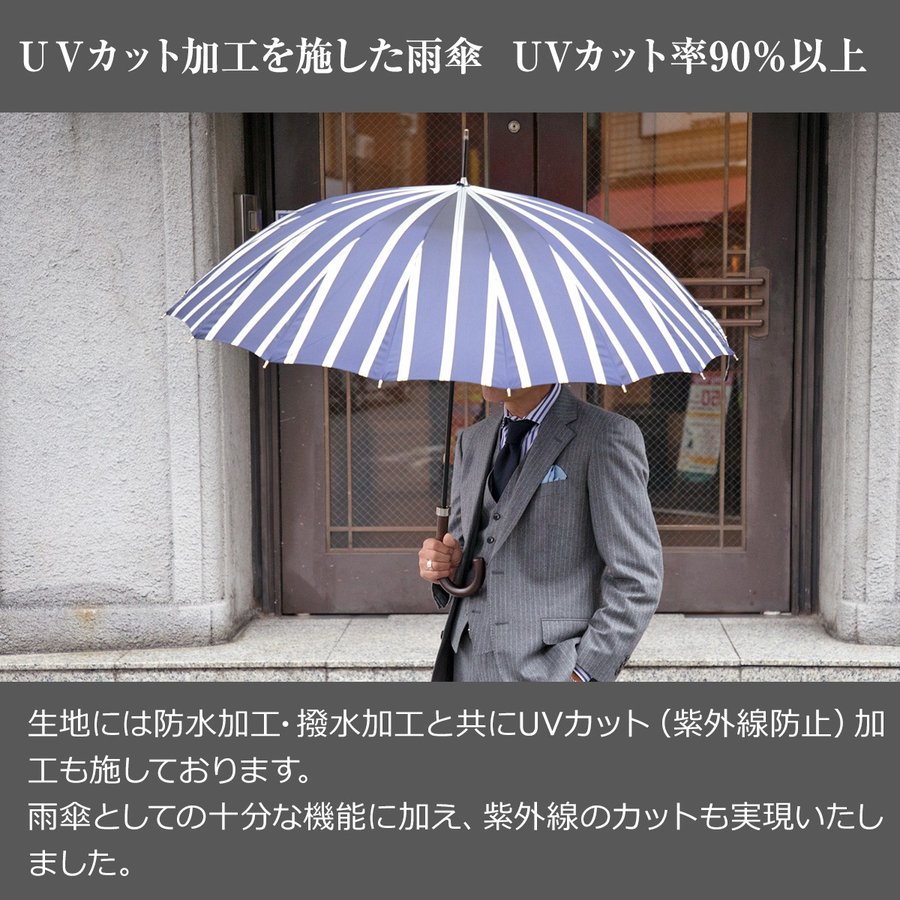 Ramuda 長傘 メンズ 紳士 日本製 甲州織 日本製生地 UVカット 90%以上 修理 保証 uv 大きい ギフト プレゼント 名入れ ネームプレート|ramuda|06