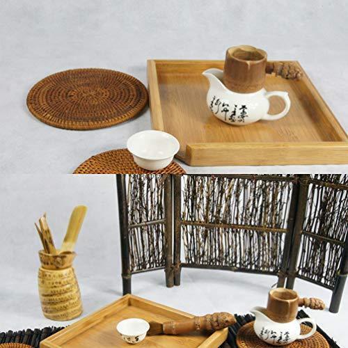TOPBATHY 茶皿竹茶サービングプレート四角形ティーコーヒープラッター木製ティーボード多目的サービング皿オ?|ranchan-tsuyoshi|06