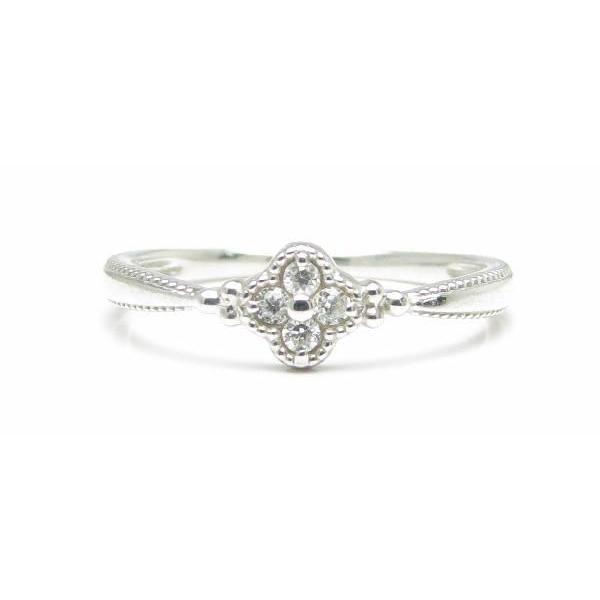 魅力的な ダイヤモンド 0.05ct ミル打ち マリッジ エンゲージ 指輪 リングK10WG ホワイトゴールド, 生野町 6570daf4