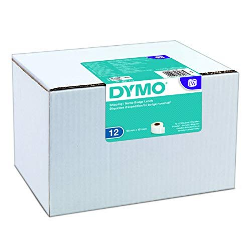 Dymo 54 mm x 101 mm LW Large Shipping Labels/Name Badges, 12 Rolls of 220 (2,640 Easy-Peel Labels), Self-Adhesive, for LabelWriter Label Makers, Authe