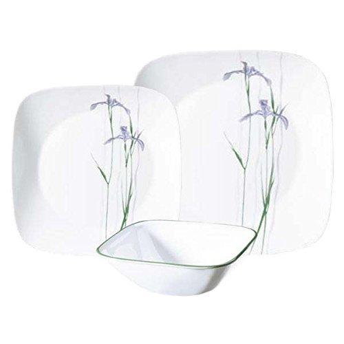 Corelle Square Shadow Iris 18-Piece Dinnerware Set, Service for 6【並行輸入品】