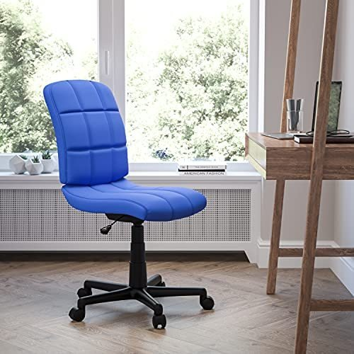 Flash Furniture Mid-Back Blue Quilted Vinyl Swivel Task Office Chair(並行輸入品)