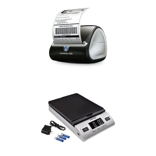 DYMO LabelWriter 4XL Label Maker and Accuteck All-In-One Series W-8250-50BS  A-PT 50 Digital with AC Adapter (Silver) Bundle【並行輸入品】