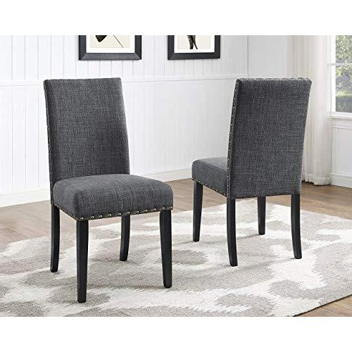 Roundhill Furniture Biony Gray Fabric Dining Chairs with Nailhead Trim, Set of 2(並行輸入品)