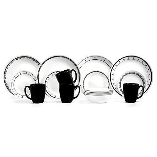 Corelle 3236 Chip and Break Resistant Dinner Set 16 Pieces, Black/White【並行輸入品】