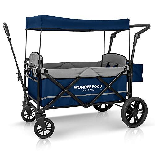 WonderFold Baby XL 2 Passenger Push Pull Twin Double Stroller Wagon with Adjustable Handle Bar, Removable Canopy, Safety Seats with 5-Point Harness, O