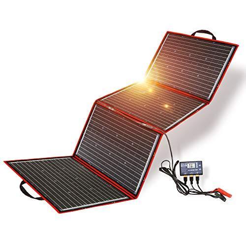 DOKIO 200W 12V Foldable Solar Panel Kit Monocrystalline with Solar Controller USB Output for Caravan RV Boat Camper Any Other Irregular Surface【並