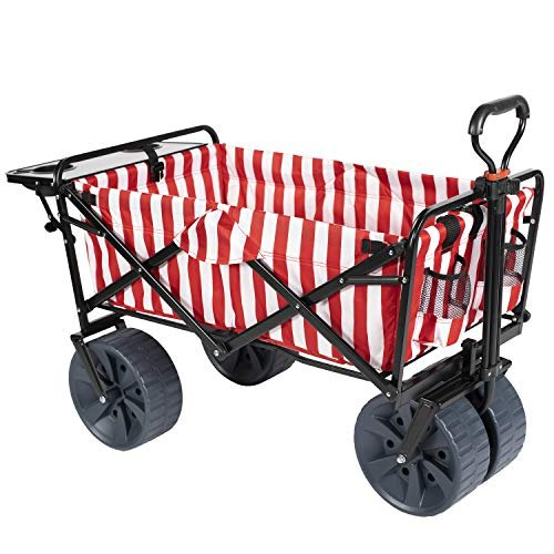 MacSports Collapsible Outdoor Folding Wagon with Side Table, Perfect Beach Wagon for Camping, Concerts, and More · Red Stripes【並行輸入品】