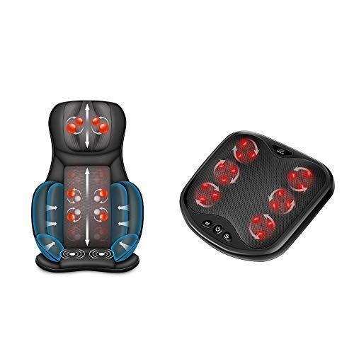 Snailax Shiatsu Air Compression Back Massager Foot Machine Bundle | Massage Chair Spot Massage for Neck and Back, Vibration Massage Seat Cus