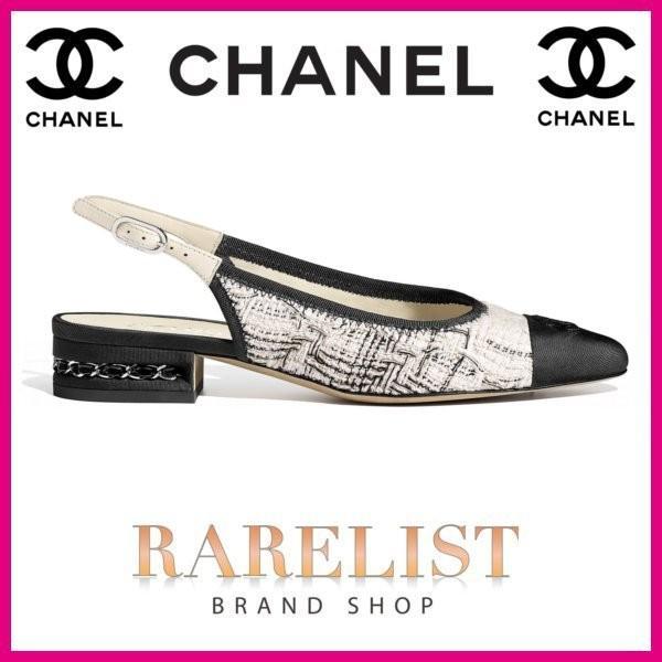 シャネル CHANEL 靴 シューズ スリングバックシューズ パンプス 新作 エクリュ ツイード ココマーク