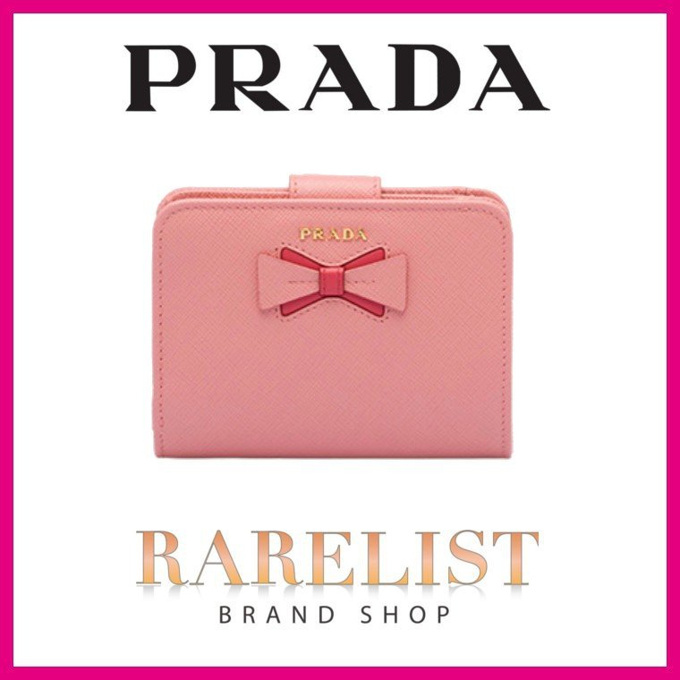 size 40 f0482 36b76 プラダ PRADA リボン 財布 小財布 二つ折り ファッション 2 ...