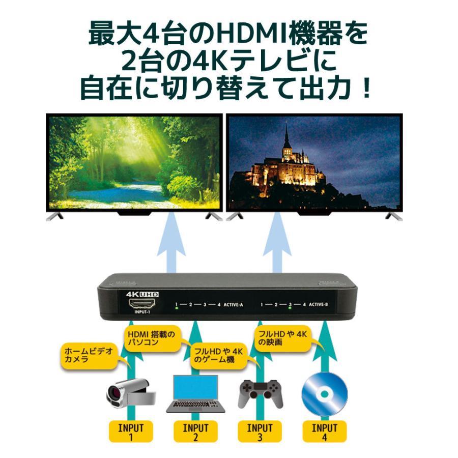 4K60Hz対応 4入力2出力HDMIマトリックススイッチ  RS-HDSW42-4K|ratoc|02