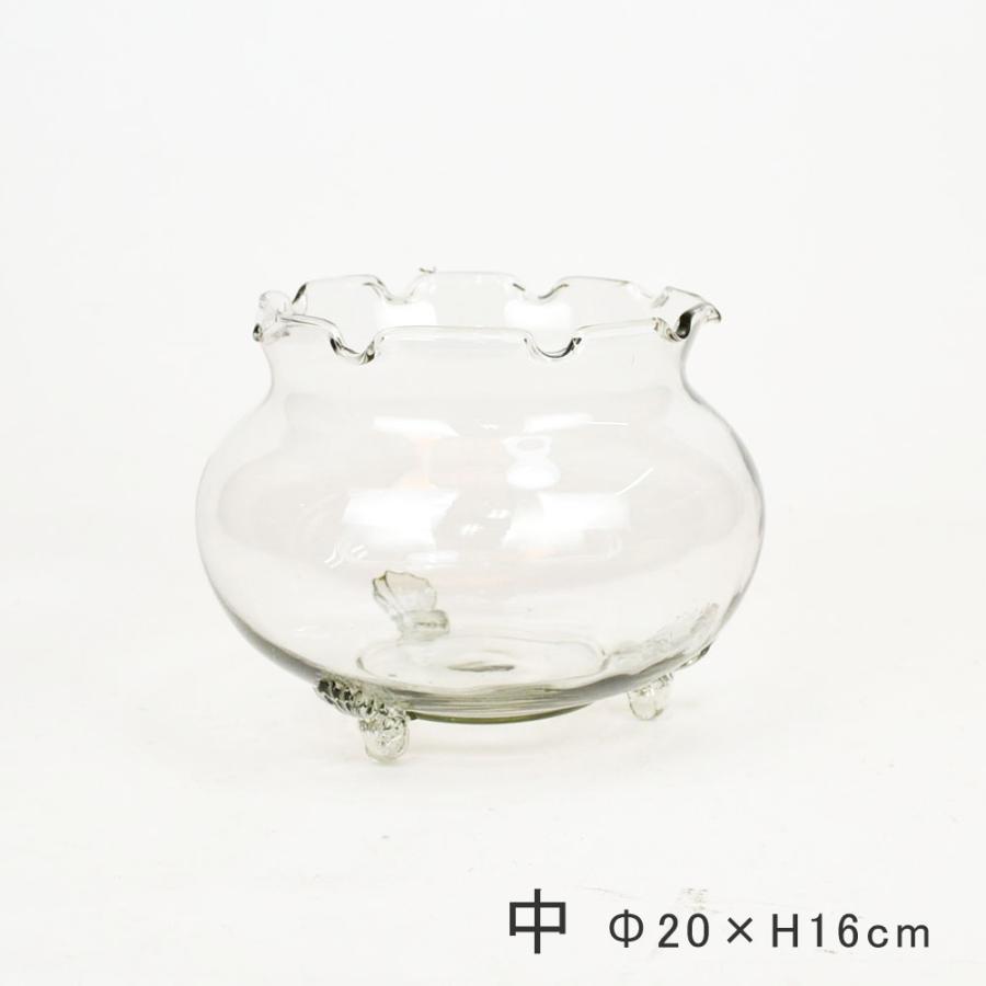フリル金魚鉢 超安い 中 ガラス製 きんぎょ鉢 アクアリウム 水槽 メダカ鉢 超定番