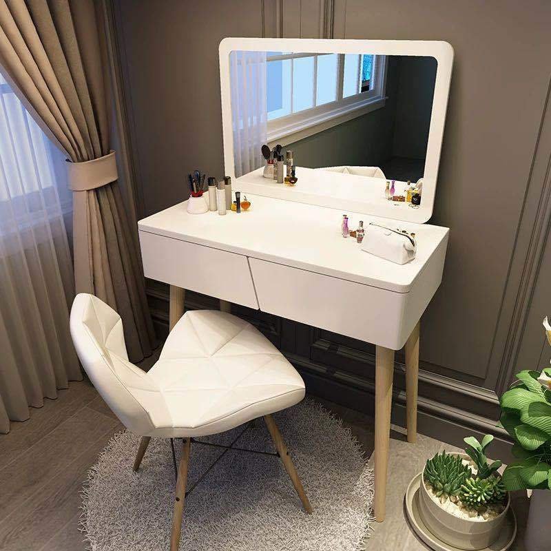 人気の製品 J106 オシャレ ホワイト 北欧風ドレッサー スツール付き ドレッサーデスク おしゃれ 椅子付き 70CM 47.5CM 広い鏡 鏡台 化粧台 コスメ台 日本メーカー新品 女優ミラー