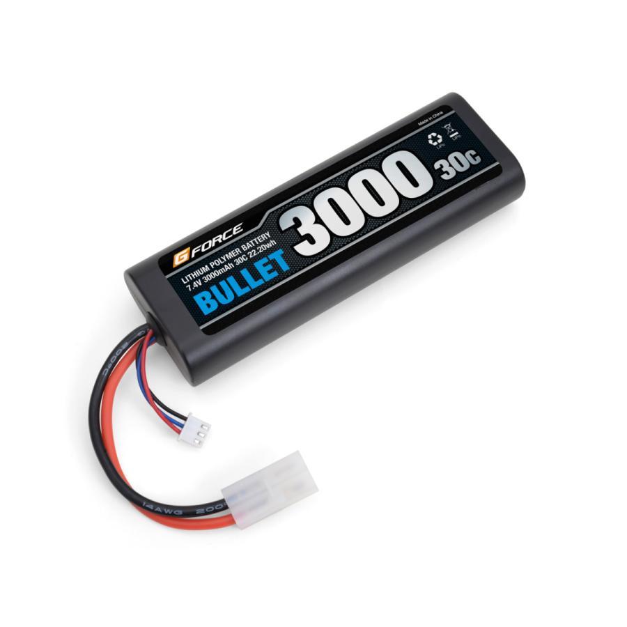 商い ネコポス便対応 G-FORCE ジーフォース GFG007 BULLET LiPo 3000mAh バレットリポ バッテリー ストレートパック 2020モデル 7.4V
