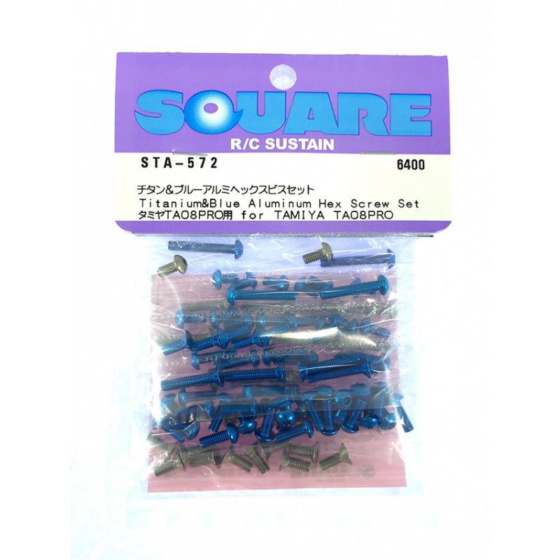 ネコポス対応 スクエア 出荷 SQUARE タミヤTA08PRO用チタンamp;ブルーアルミヘックスビスセット STA-572 予約販売品