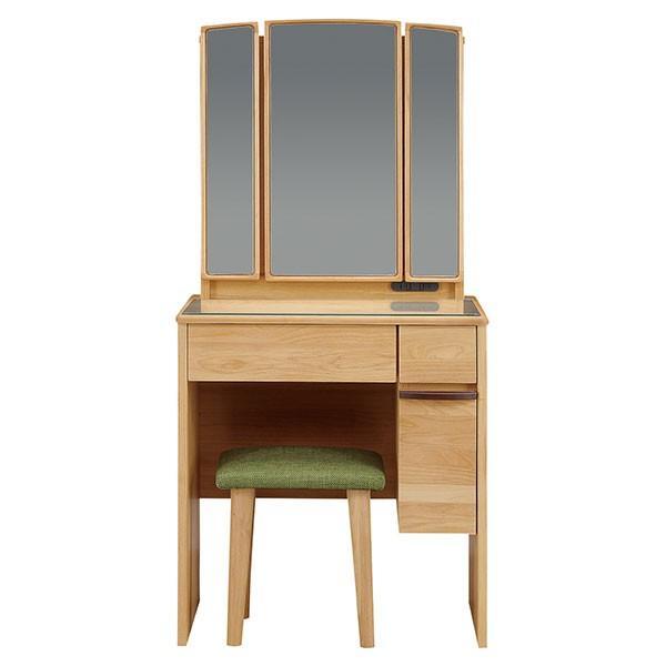 ドレッサーデスク 三面鏡 収納 化粧台 幅65cm 椅子付き コンパクト メイク台 収納ボックス 引き出し 鏡台 代引不可