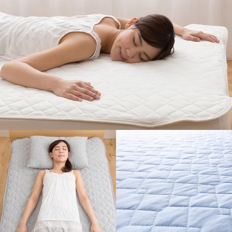 接触冷感 敷きパッド ダブル Q-MAX0.5 リバーシブル 抗菌防臭 冷却 省エネ エコ ひんやり クール 寝具 丸洗い ウォッシャブル rcmdhl 07
