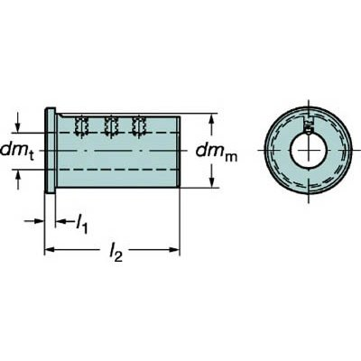 サンドビック 丸シャンクバイト用イージーフィックススリーブ 132N-4032 旋削・フライス加工工具・ホルダー