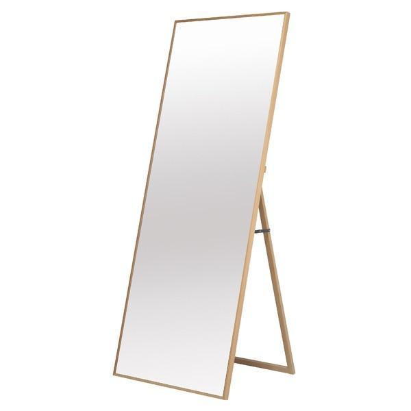 細枠スタンドミラー/姿見鏡 〔ワイド/ナチュラル〕 幅60cm 木製フレーム 木製フレーム 飛散防止加工 折りたたみ可 日本製 〔完成品〕