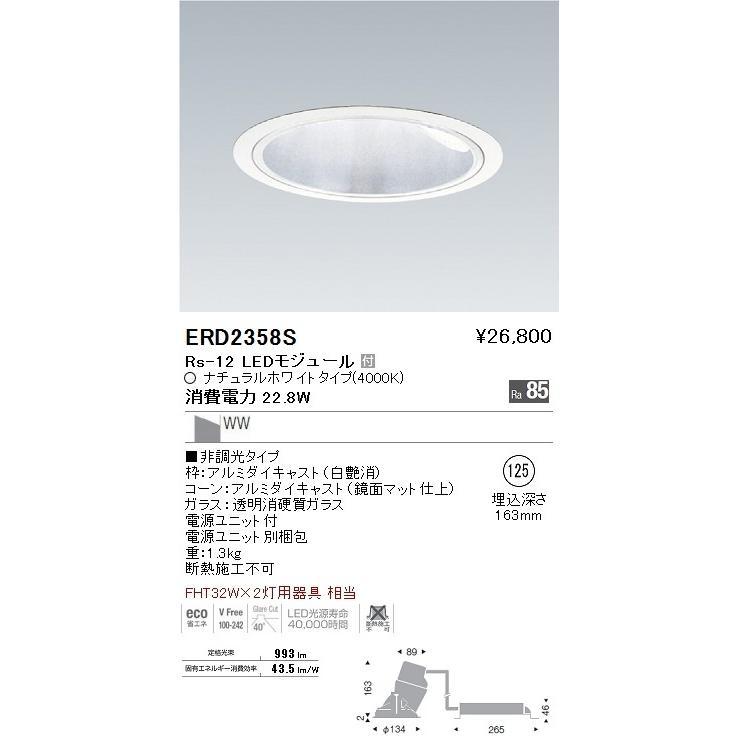 ENDO 遠藤照明 ウォールウォッシャーダウンライト ERD2358S