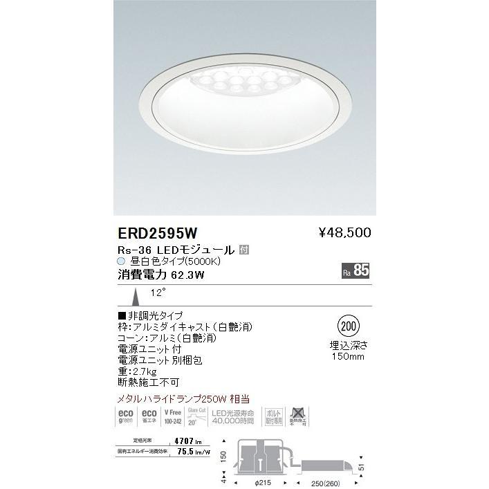 ENDO 遠藤照明 遠藤照明 ベースダウンライト ERD2595W