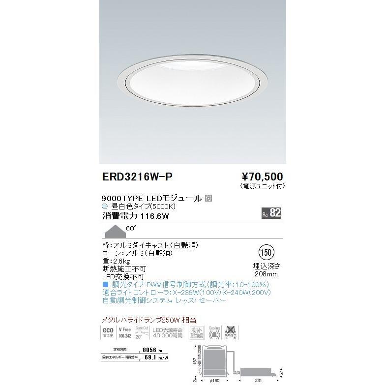 ENDO 遠藤照明 ダウンライト ERD3216W+P