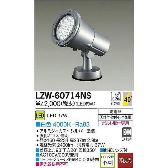 DAIKO 大光電機 大光電機 大光電機 LEDアウトドアスポットライト LZW-60714NS c2c