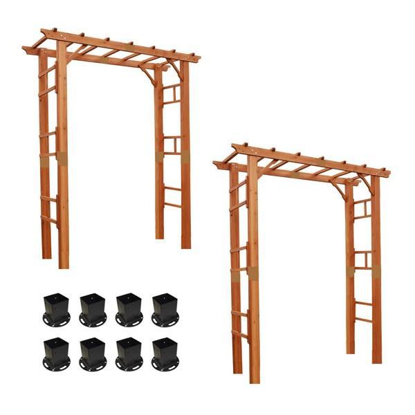 天然木製フレックスパーゴラアーチ190 2台組 平地金具セット アーチ おしゃれ 平地 金具 代引不可