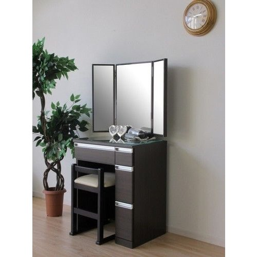 一生紀 ドレッサー&チェア 3面鏡 幅60cm(ダークブラウン) チェア付き チェア付き 3面鏡ドレッサー(代引き不可)