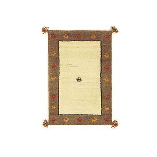 インド敷物 キリムマット GABBEH GABBEH GABBEH D5 80×140 BE/GY ベージュ×グレー (代引き不可) 809