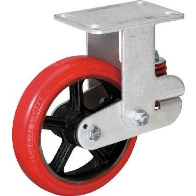 イノアック バネ付き牽引車輪 ウレタン車輪タイプ 固定金具付 Φ200 KTU-200WK-YS キャスター・緩衝キャスター