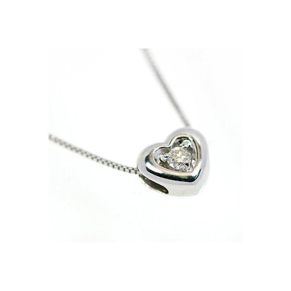 優れた品質 18金ホワイトゴールド 天然ダイヤモンド ぷっくりハート プチデザイン ペンダント ネックレス, 士幌町 f4a82935