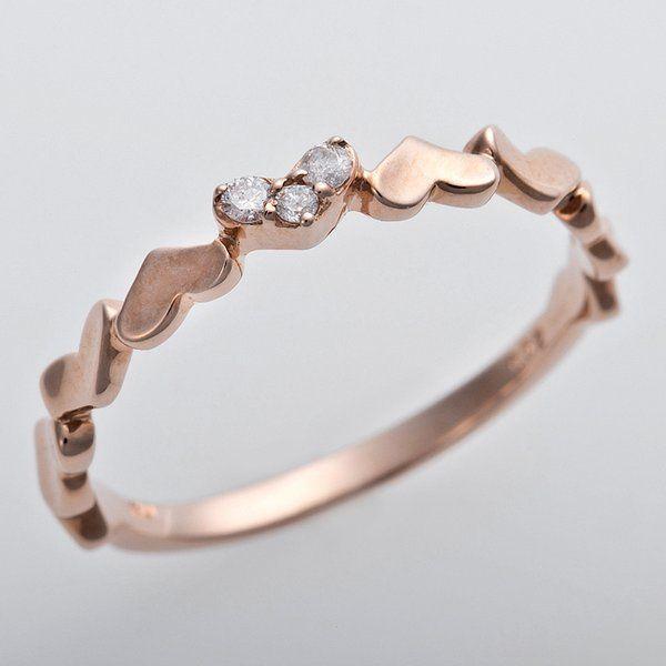 【海外限定】 ダイヤモンド ピンキーリング K10 ピンクゴールド ダイヤ0.03ct ハートモチーフ 4号 指輪, パティスリーラヴィアンレーヴ 4c17dbbf