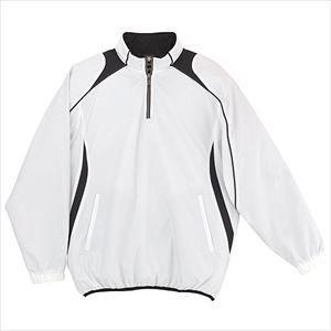 デサント(DESCENTE) JR長袖プルオーバーコート JSTD425 WHT ホワイト×ブラック