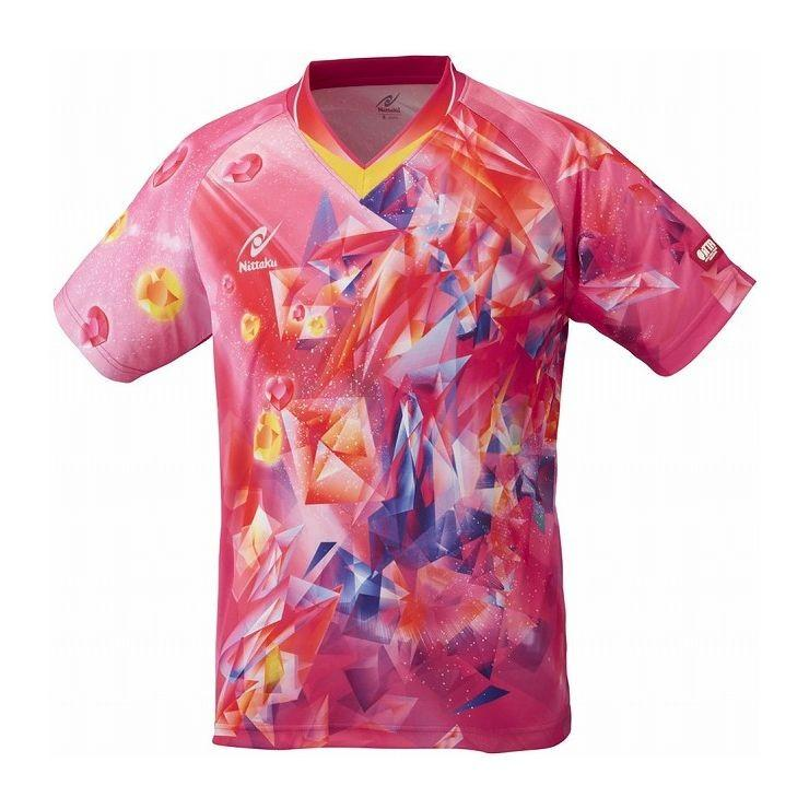 ニッタク 卓球アパレル ユニスカイクリスタル シャツゲームシャツ男女兼用 ジュニア対応 NW2182 カラー ピンク サイズ 3S 代引不可