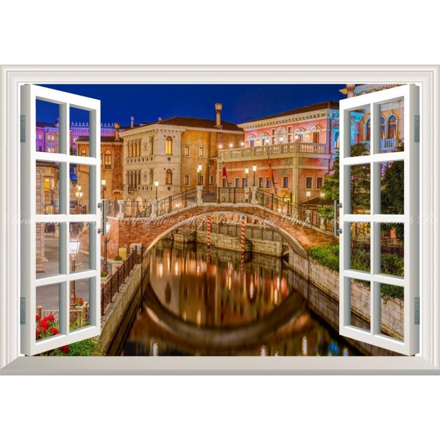 絵画風 壁紙ポスター 窓の景色 ディズニーシーの夜景 ディズニー