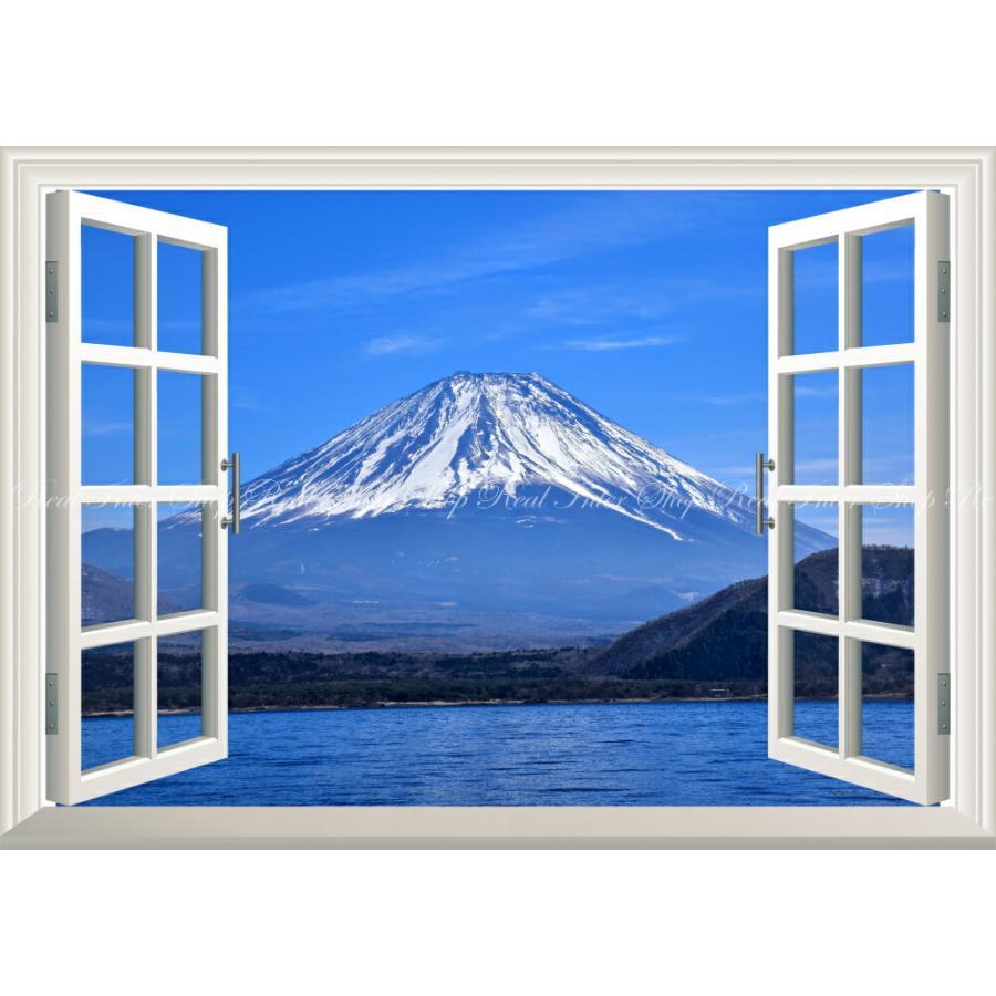 絵画風 壁紙ポスター 窓の景色 壮大な富士山の勇姿 山中湖 ふじやま