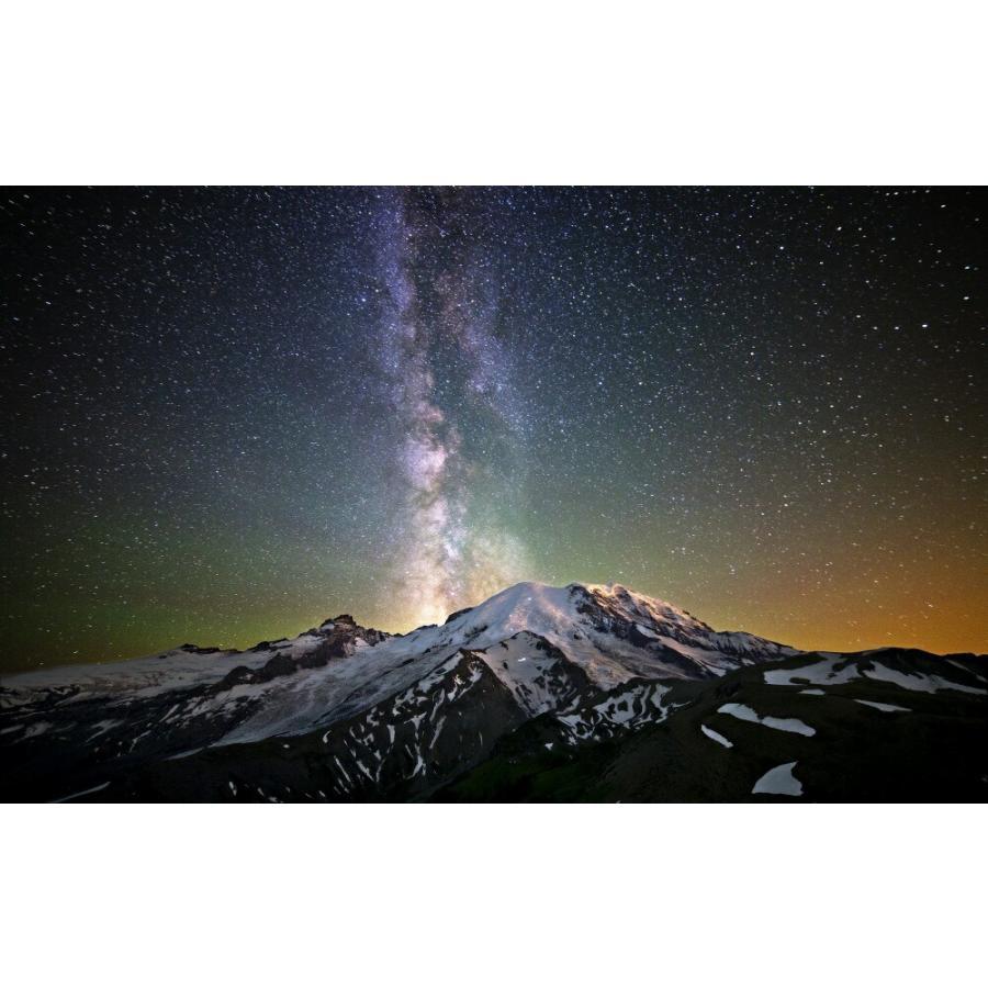 絵画風 壁紙ポスター 天の川銀河 雪山 ミルキーウェイ 恒星 天体