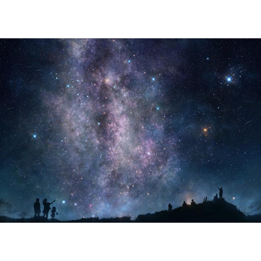 絵画風 壁紙ポスター 天の川銀河と星空 流れ星 ミルキーウェイ 恒星