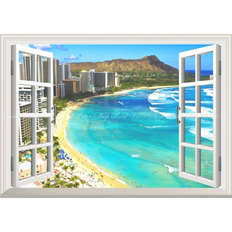 絵画風 壁紙ポスター 窓の景色 ハワイ ワイキキビーチ オアフ島