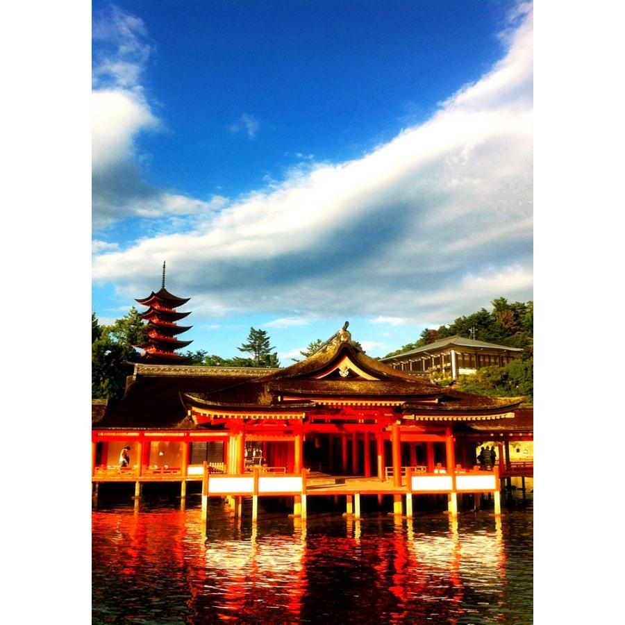 絵画風 壁紙ポスター 厳島神社 門客神社 五重塔 宮島 日本三景