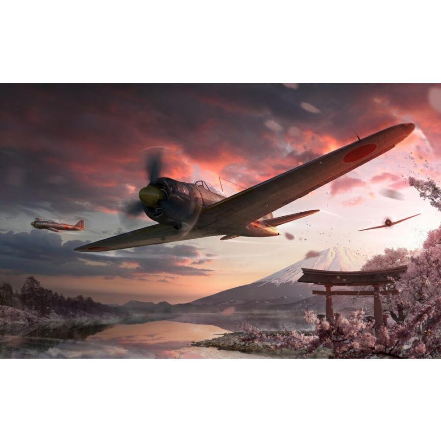 絵画風 壁紙ポスター ゼロ戦 零戦21型 A6m2 B 富士山 さくら 戦闘機