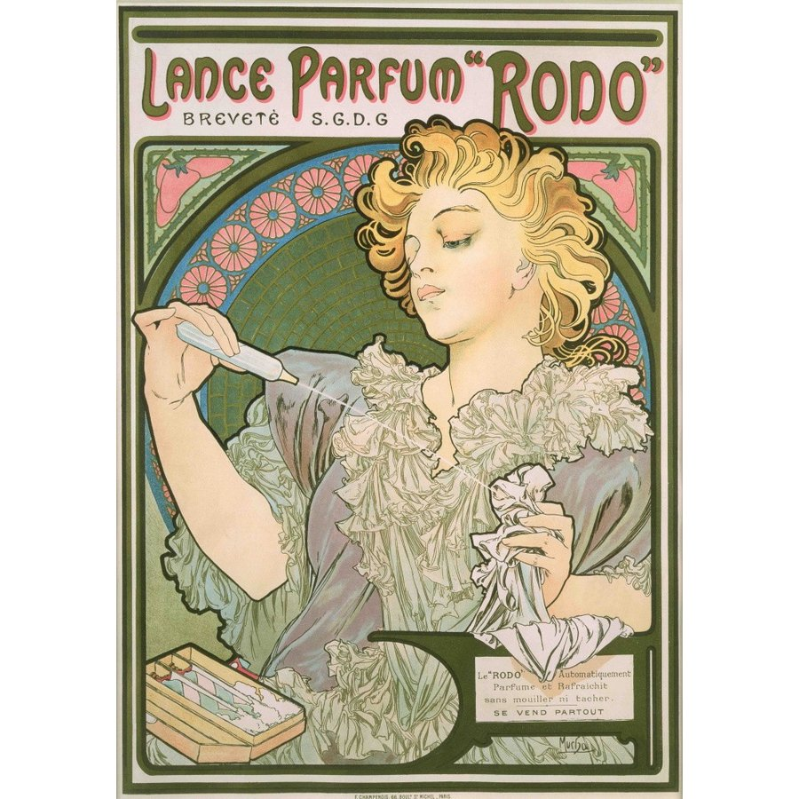 絵画風 壁紙ポスター アルフォンス ミュシャ ランスの香水 ロド 1896