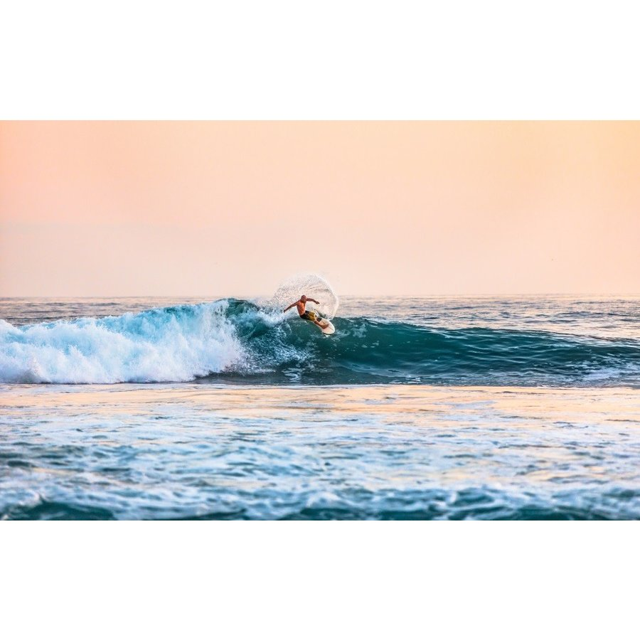 絵画風 壁紙ポスター 夕暮れのプロ サーファー In ハワイ サーフィン