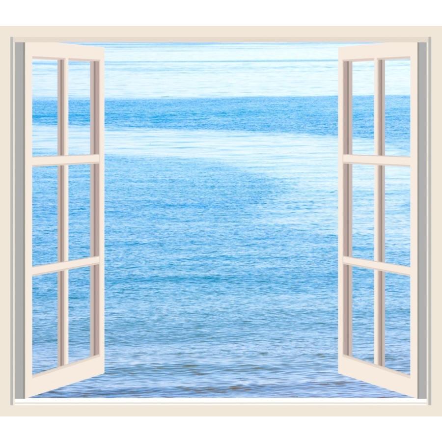 絵画風 壁紙ポスター 窓 窓の景色 窓枠 海 オーシャンビュー