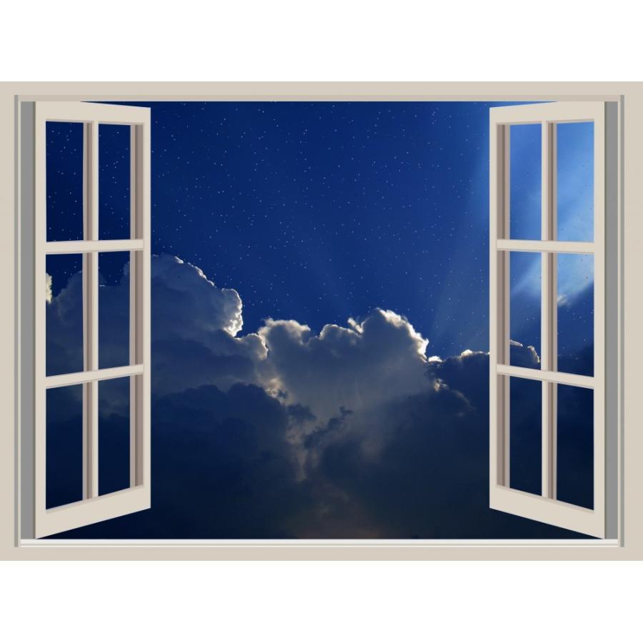 絵画風 壁紙ポスター 窓 窓の景色 窓枠 星空 夜空 キャラクロ Wnd