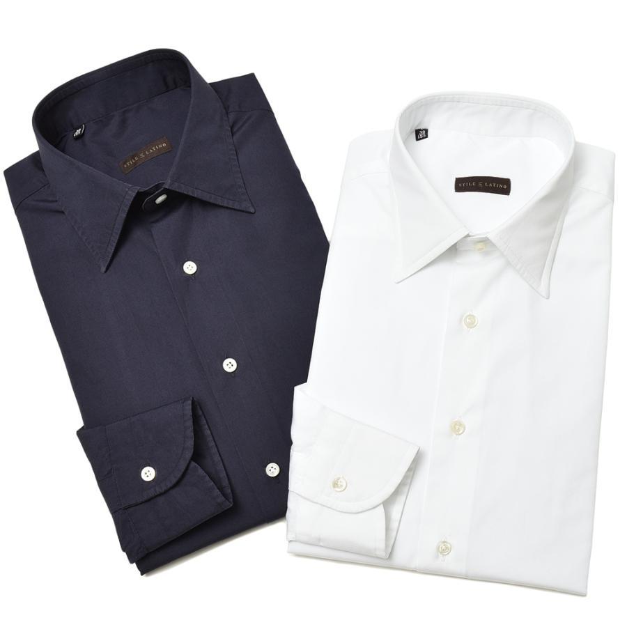 STILE LATINO スティレ ラティーノ コットン ブロード セミワイドカラー ドレスシャツ|realclothing