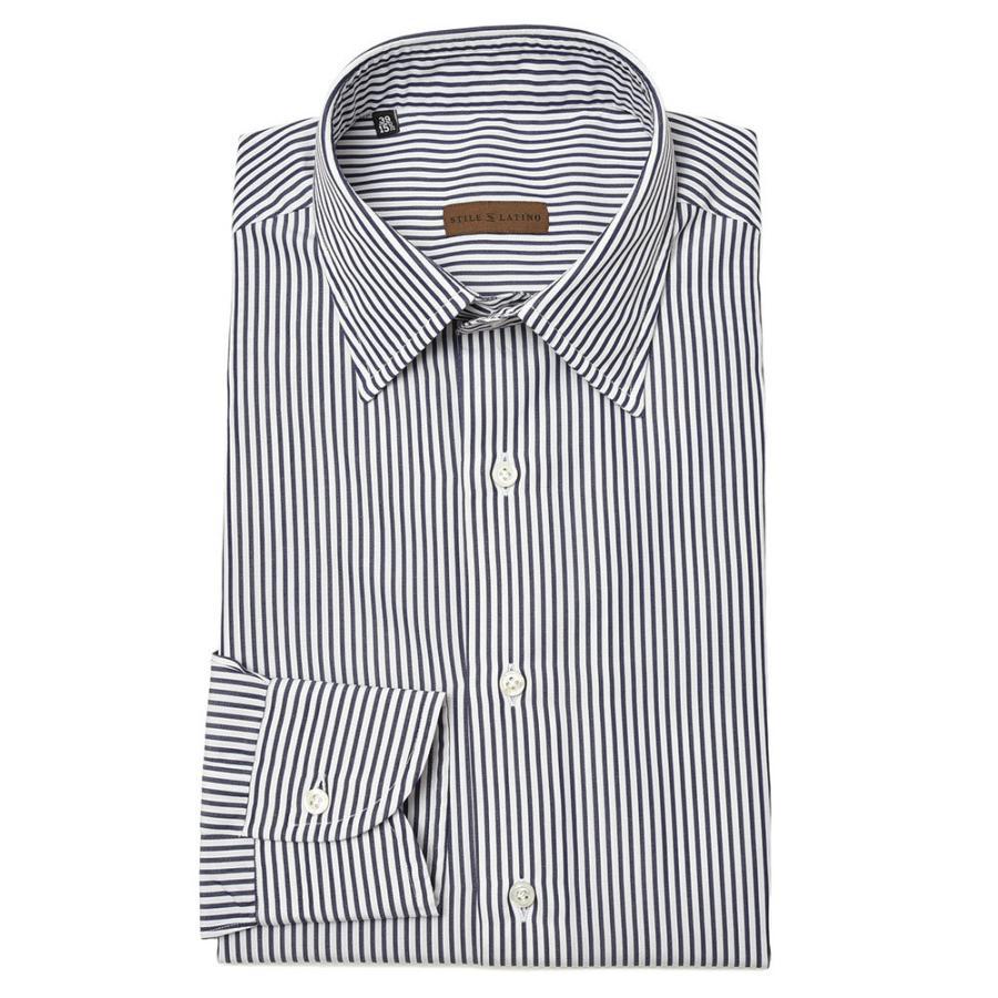 STILE LATINO スティレ ラティーノ コットン ブロード ストライプ セミワイドカラー ドレスシャツ|realclothing